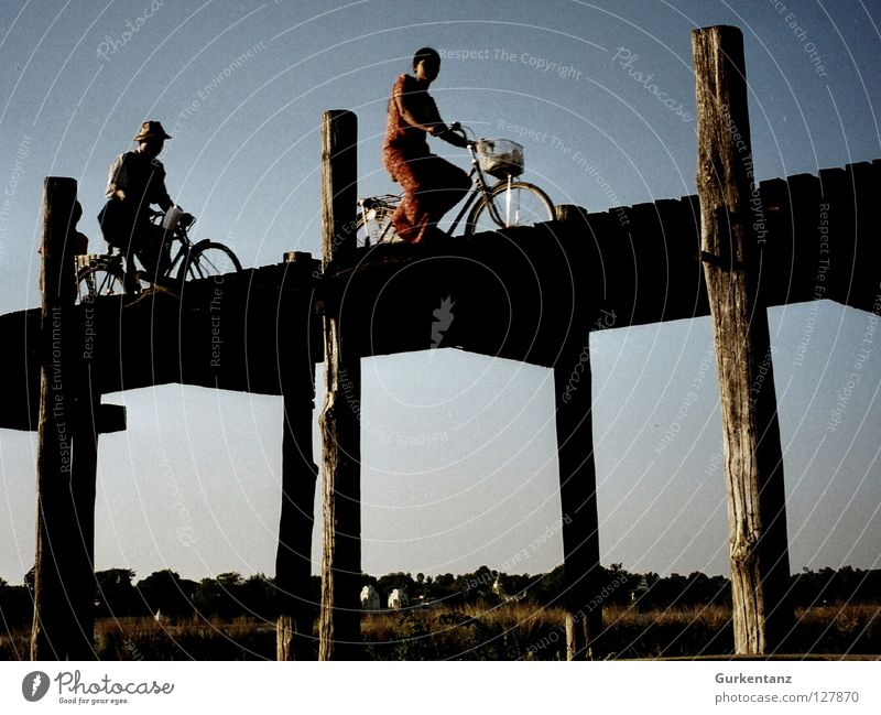 Human being Wood Bicycle Bridge Asia Pole Basket Asians Myanmar Lee Cycle race Chase Teak Mandalay Burmese