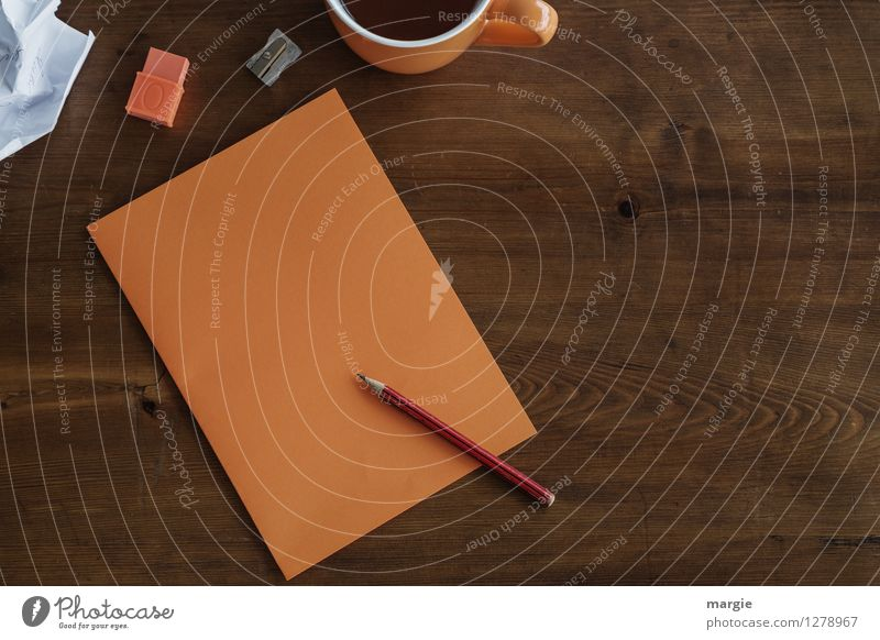 Orange office: note with pencil, eraser and a cup of coffee Hot drink Tea Cup Desk Table Study Teacher Professional training Office work Workplace Business
