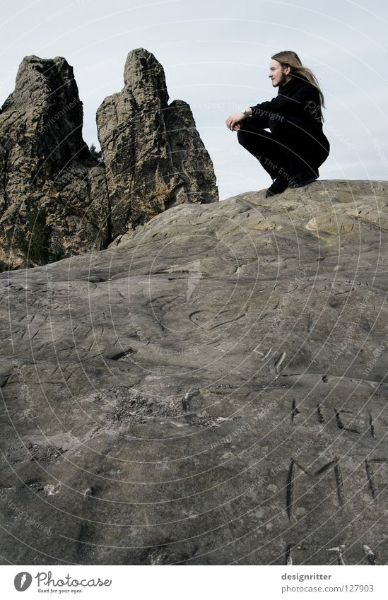 Human being Man Old Calm Black Loneliness Cold Death Mountain Stone Lanes & trails Think Rock Characters Peace Uniqueness