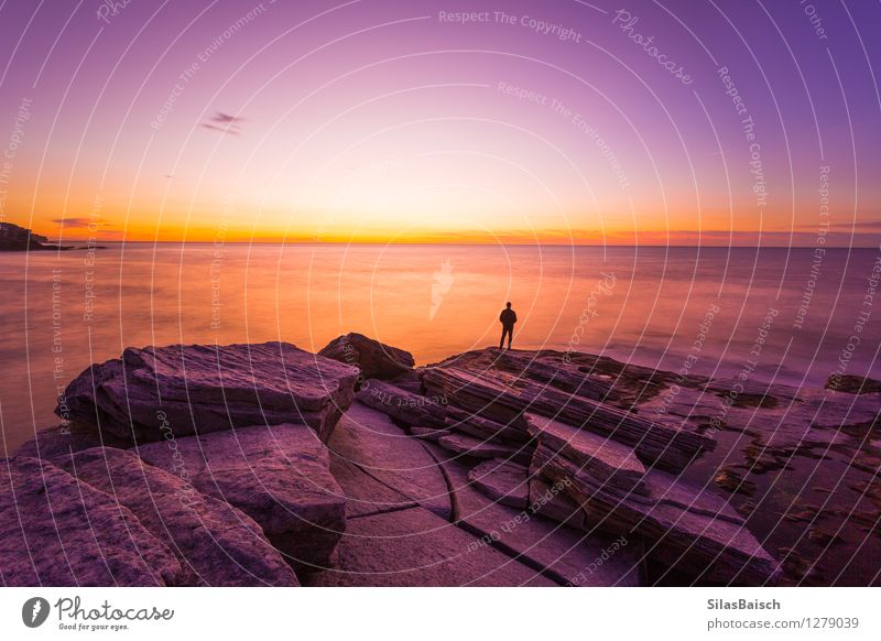 Person watching sunrise Human being Vacation & Travel Colour Sun Ocean Loneliness Joy Far-off places Environment Coast Freedom Tourism Success Island Trip