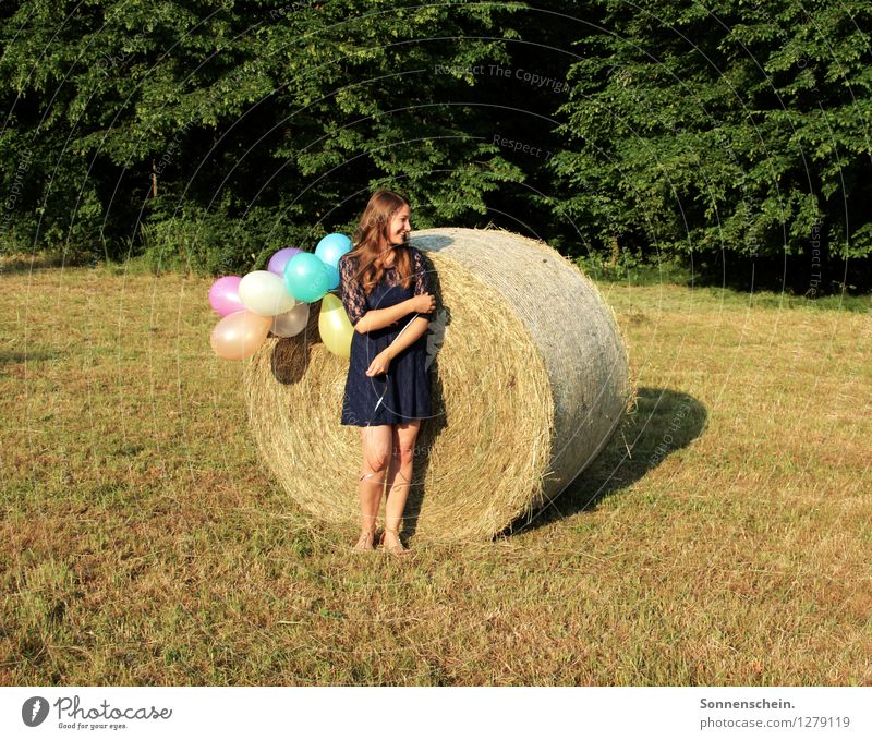 summertime Joy Summer Feminine Young woman Youth (Young adults) 18 - 30 years Adults Nature Tree Meadow Field Forest Dress Balloon Discover To enjoy Smiling