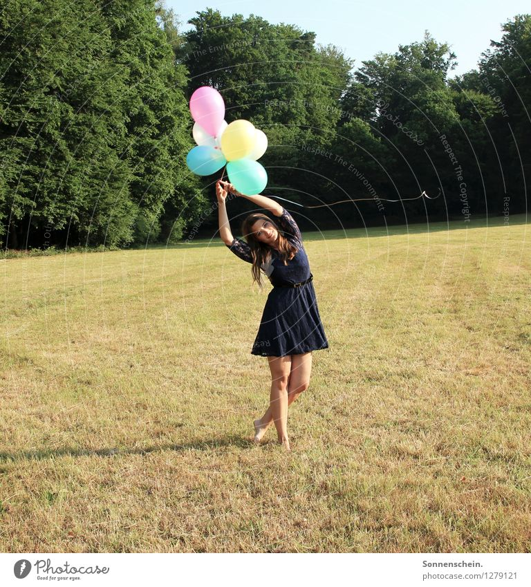 Girl with balloons Feminine Young woman Youth (Young adults) Body 18 - 30 years Adults Nature Landscape Meadow Field Dress Balloon Movement Flying To enjoy