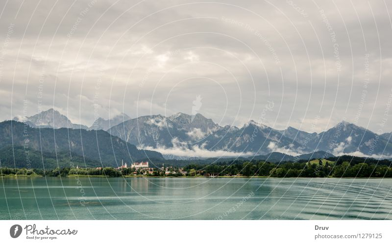 Forggensee and feet Swimming & Bathing Vacation & Travel Summer Summer vacation Mountain Sailing Nature Landscape Plant Water Sky Clouds Forest Alps Lake Town