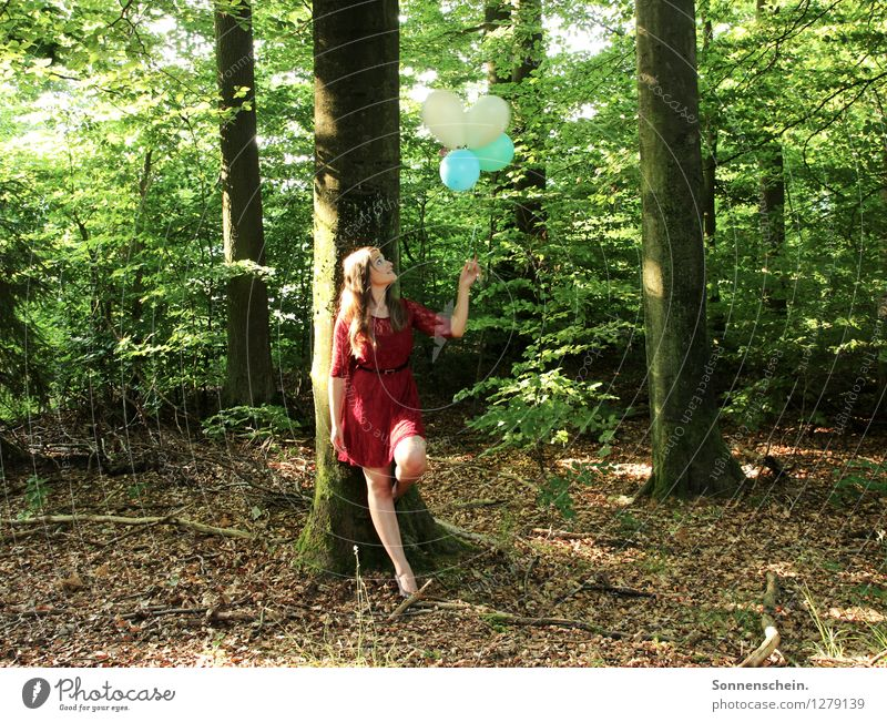 Nature Youth (Young adults) Green Colour Summer Young woman Tree Red 18 - 30 years Forest Adults Life Natural Feminine Freedom Contentment