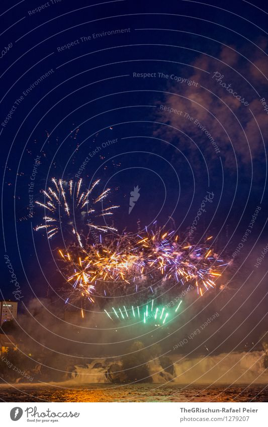 Fireworks 5 Art Blue Brown Multicoloured Yellow Gold Green Violet Orange Pink Red Black White Pyrotechnics Firecracker Bang Explosion Smoke Rhein falls Water