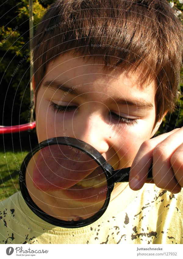 Human being Child Playing Boy (child) Small Large Tracks Concentrate Tongue Skeptical Accuracy Magnifying glass Informer Investigate Enlarged Agent
