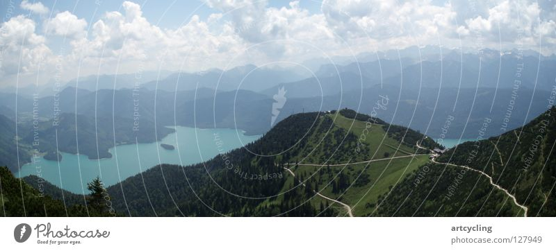 Summer Clouds Mountain Hiking Large Blue sky Lake Walchen Herzogstand