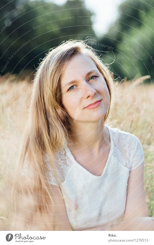 Summer portrait. Beautiful Human being Feminine Young woman Youth (Young adults) Adults Face 1 13 - 18 years Nature Field Blonde Long-haired Relaxation Smiling