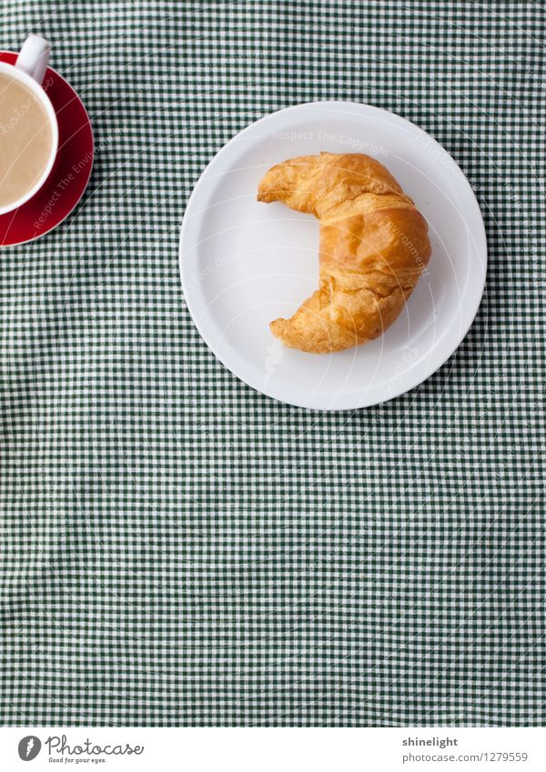 croissant love Food Croissant Nutrition Breakfast Tablecloth Beverage Coffee Crockery Plate Cup Green White Appetite Thirst To enjoy Breakfast table Meal
