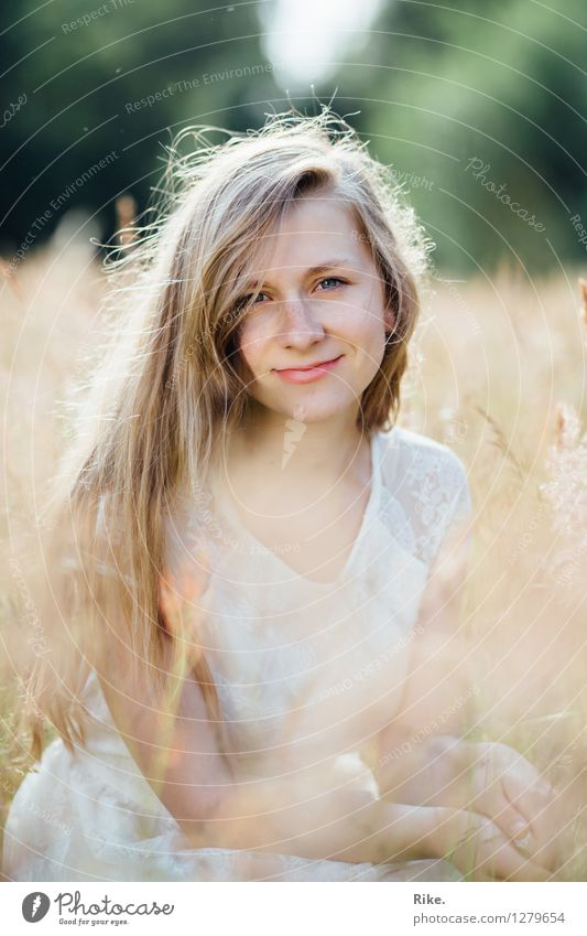 Human being Nature Youth (Young adults) Beautiful Summer Young woman Relaxation Landscape 18 - 30 years Face Adults Environment Natural Feminine Dream Contentment