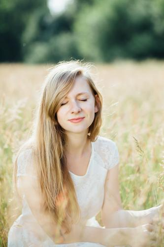 Quiet moment. Healthy Allergy Human being Feminine Young woman Youth (Young adults) Adults Face 1 13 - 18 years 18 - 30 years Environment Nature Summer Field