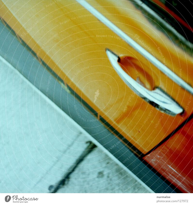 Car Orange Glittering Car door Parking Door handle Section of image Partially visible Chrome Car body Car paint
