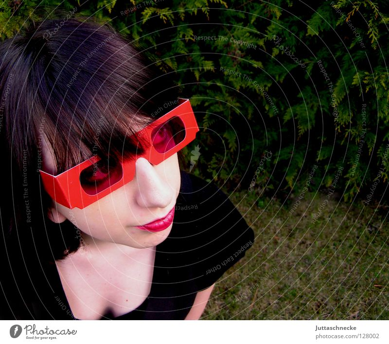 Human being Woman Youth (Young adults) Red Emotions Funny Pink Success Cool (slang) Eyeglasses Mask Mysterious Club Hide Sunglasses Bangs