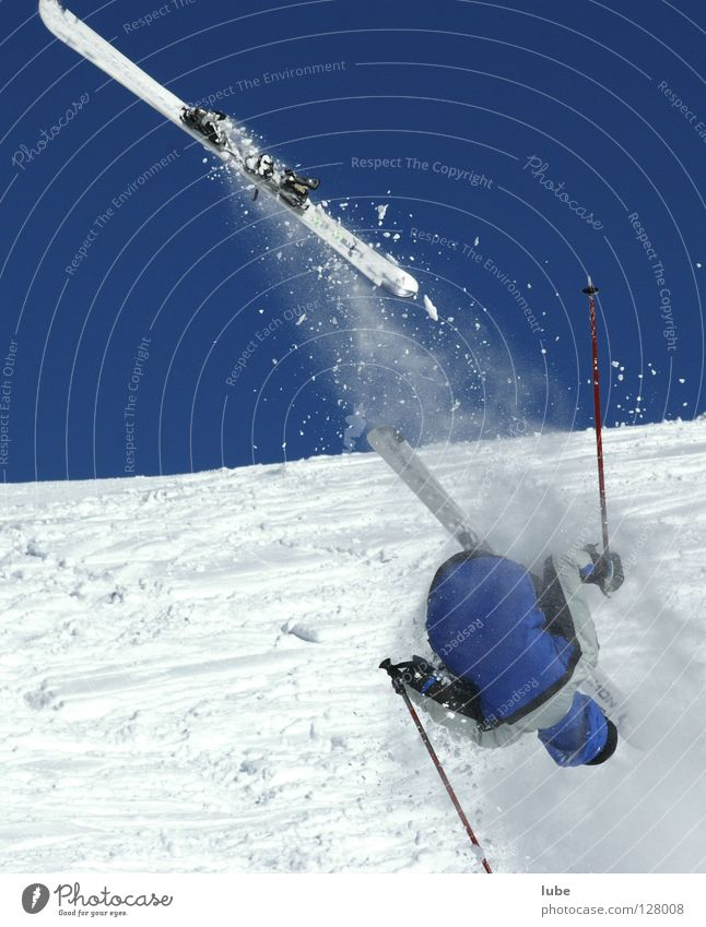 Winter Snow Jump Skiing Sudden fall Winter sports Extreme sports