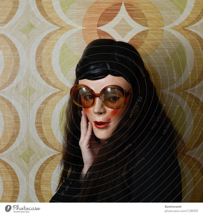 flirty Wall (building) Woman Eyeglasses Seventies Hippie Timidity Provocative Flirt Wink Wallpaper Retro Beautiful Young woman Hand Soul Black White Yellow Red