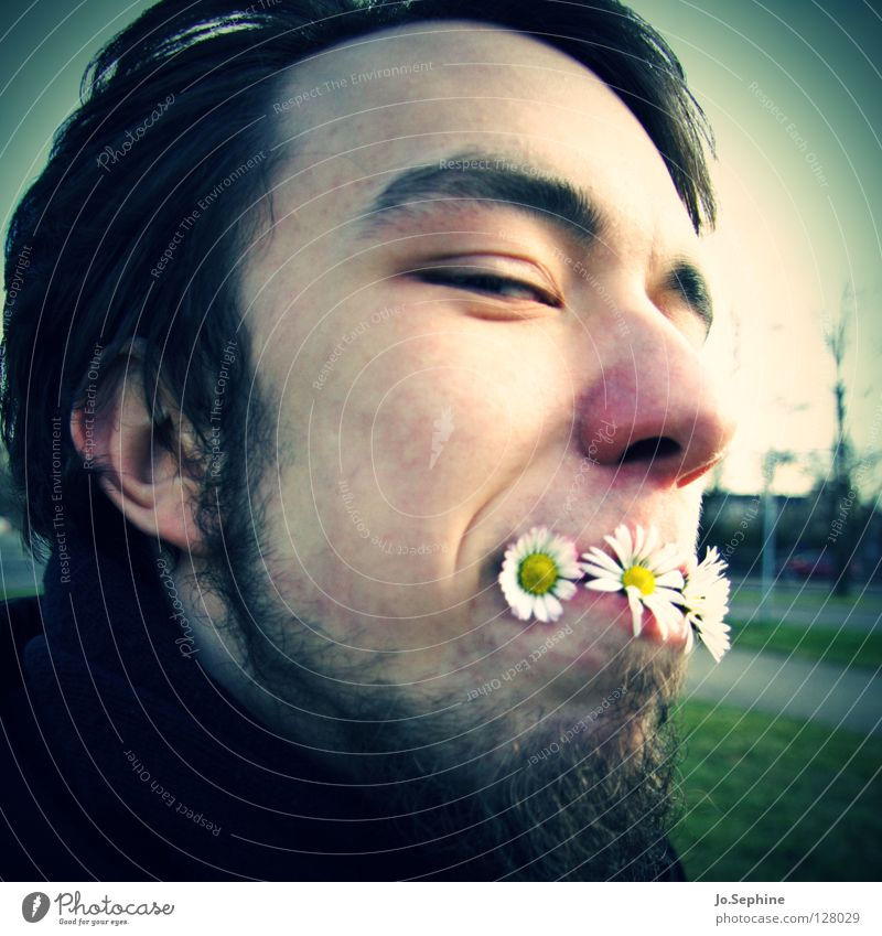 Human being Youth (Young adults) Plant Joy Face Adults Young man Spring Funny Head Blossom 18 - 30 years Facial hair Daisy Absurdity Vignetting