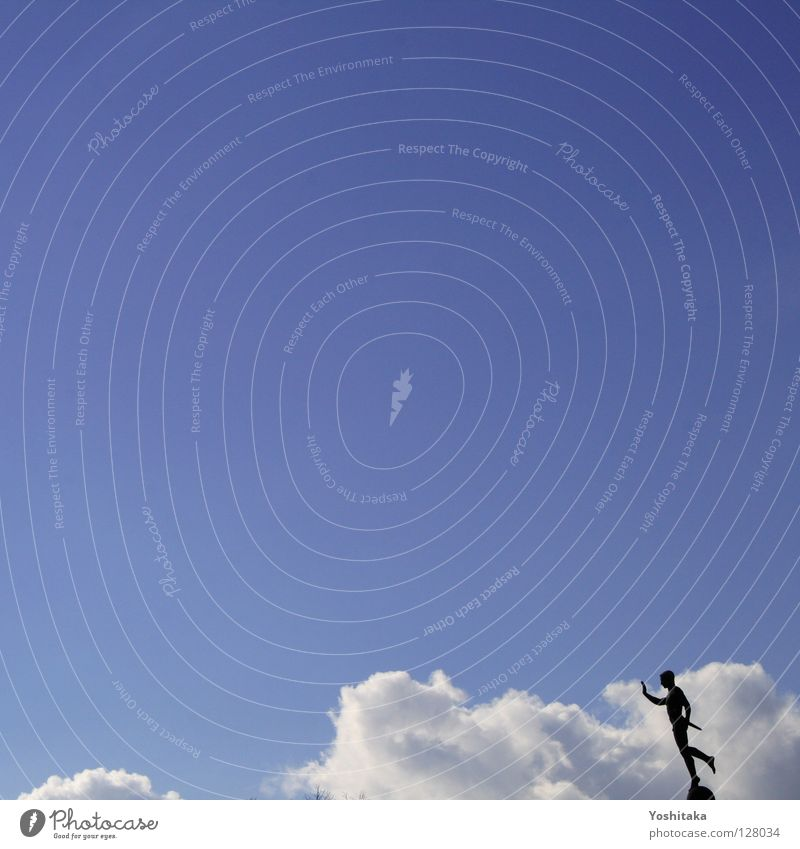 sky guard Man Statue Clouds Calm Loneliness Contentment Might Human being rigor Sky Weather Blue Silhouette Freedom Aviation Flying single-handed Lanes & trails