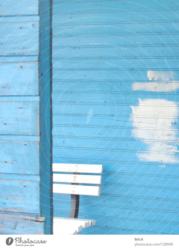 White Bench Blue Redecorate Section of image Partially visible Redevelop Patch of colour Wooden wall Sky blue Light blue Paints and varnish Paintwork Wooden house Azure blue Wooden bench