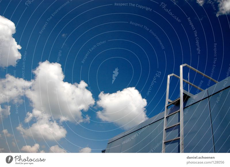 Stairs to the Freiburg sky Career Clouds Go up Summer Abstract White Cyan Roof Detail Sky Success Ladder Weather Blue Metal Architecture