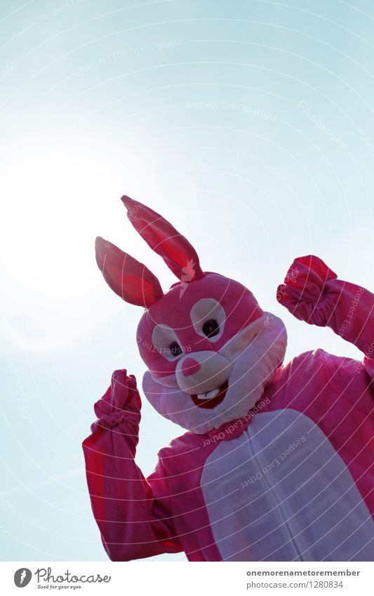 Summer Joy Funny Art Pink Esthetic Carnival Hare & Rabbit & Bunny Work of art Carnival costume Motive Comical Funster Disguised Roasted hare Hare ears