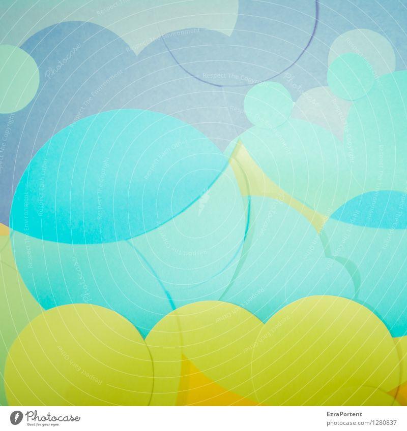bubble's Elegant Style Design Joy Playing Handicraft Sign Sphere Line Esthetic Bright Round Blue Multicoloured Green Turquoise Colour Advertising Illustration