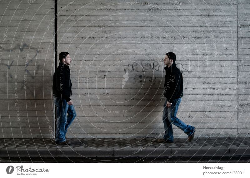 Human being To talk Wall (building) Walking Communicate Contact Social Dependence Collision