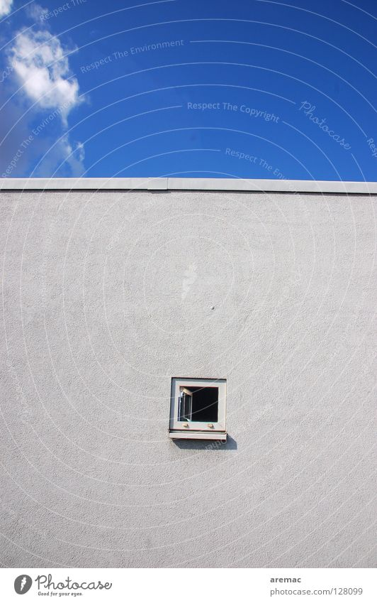 She came in through the bathroom window Clouds Gray Facade Wall (building) House (Residential Structure) Window Abstract Detail Sky Blue Toilet Open Empty