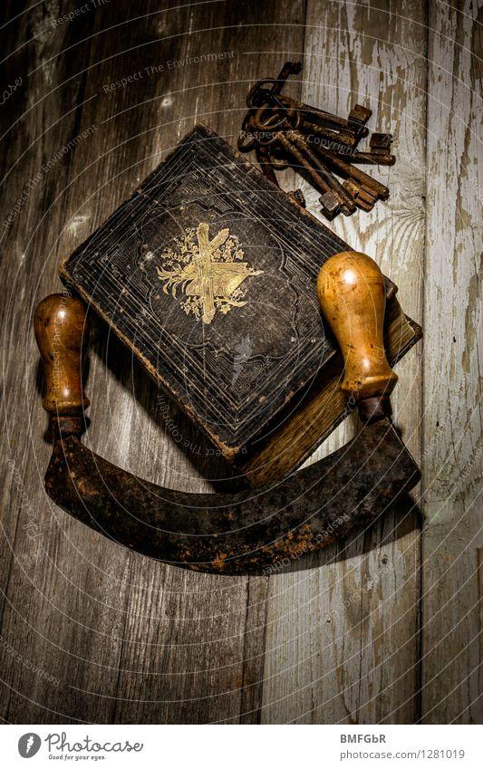 horror stories Hallowe'en Book Bible Crucifix Key Dark Creepy Black Fear Horror Survive Destruction Fantasy literature Grunge Black Magic Alarming Scythe