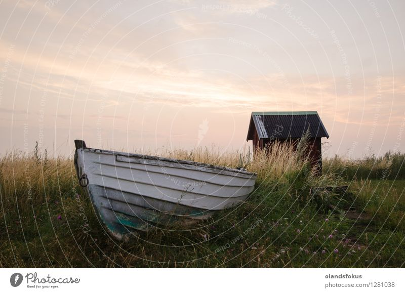 Old abandoned rowing boat Summer Island Sky Grass Coast Baltic Sea Hut Rowboat Watercraft Retro Green Red White Dusk farjestaden Ground low angle