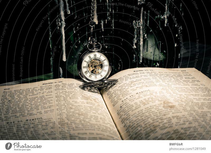 Still Life Halloween Hallowe'en Old Dark Creepy Retro Trashy Black Vintage Clock Ancient Book Bible Time Death Transience Bottle Wax Clock hand Clock face