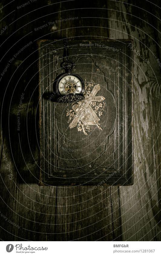 the clock is ticking Hallowe'en Academic studies Bible Clock Ornament Crucifix Old Dark Creepy Retro Black Truth Belief Grief Death Stress Threat Society War