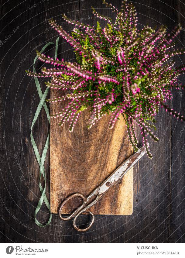 Nature Summer Flower Autumn Style Background picture Garden Feasts & Celebrations Design Decoration Retro Bouquet Equipment Vintage Wooden table Bow