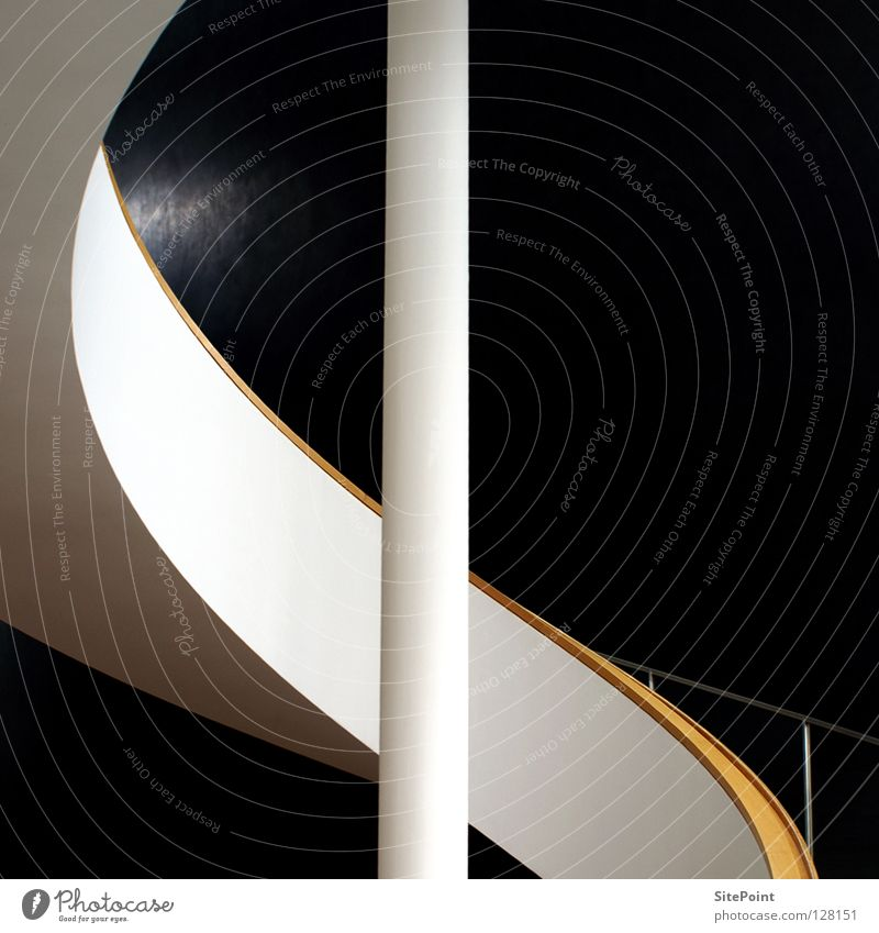 Detail White Black Architecture Stairs Round Square Handrail Geometry Curved