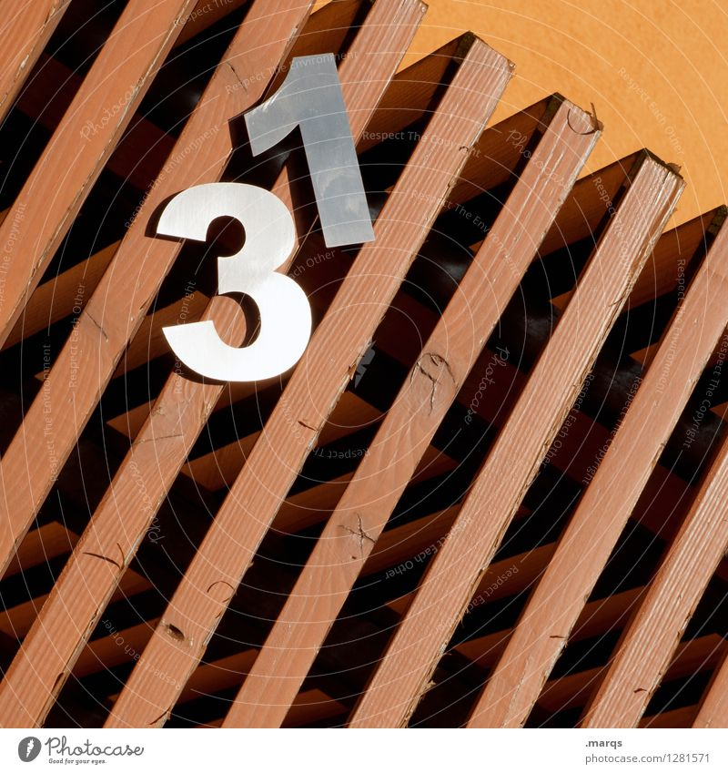 31 Style Wooden wall Metal Digits and numbers Line Hang Uniqueness Tilt House number prime Age Colour photo Exterior shot Close-up Pattern Structures and shapes