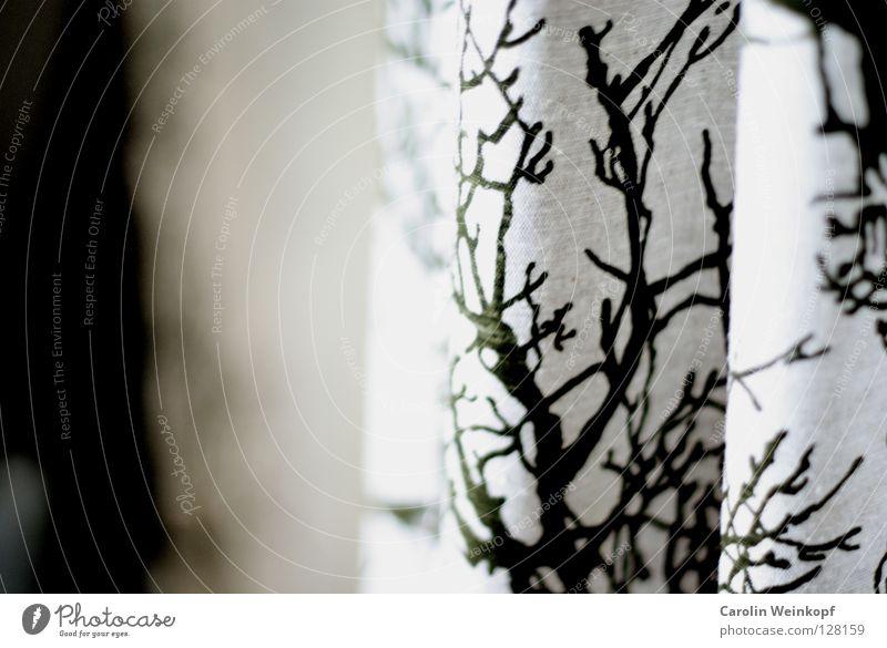 Nature White Tree Green Cloth Wrinkles Drape Hallway Hang Curtain Pressure Printed Matter Screen print