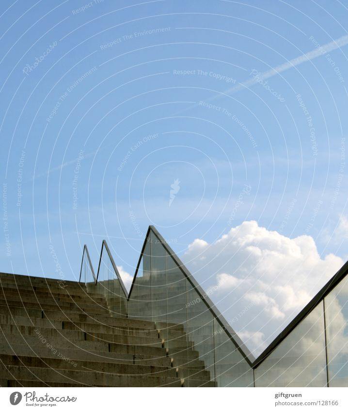 Sky Success Tall Stairs Modern Vantage point Climbing Upward Handrail Career Go up Zigzag Upswing Rising