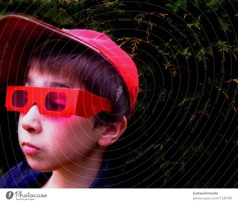superchecker Red Eyeglasses Sunglasses Portrait photograph April Whim Child Boy (child) Earnest Grief Baseball cap Cap Helium Skeptical Boredom Communicate