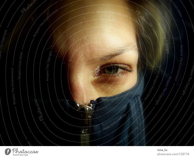 Woman Human being Blue Face Eyes Emotions Power Nose Force Open Near Mask Mysterious Discover Jacket Hide