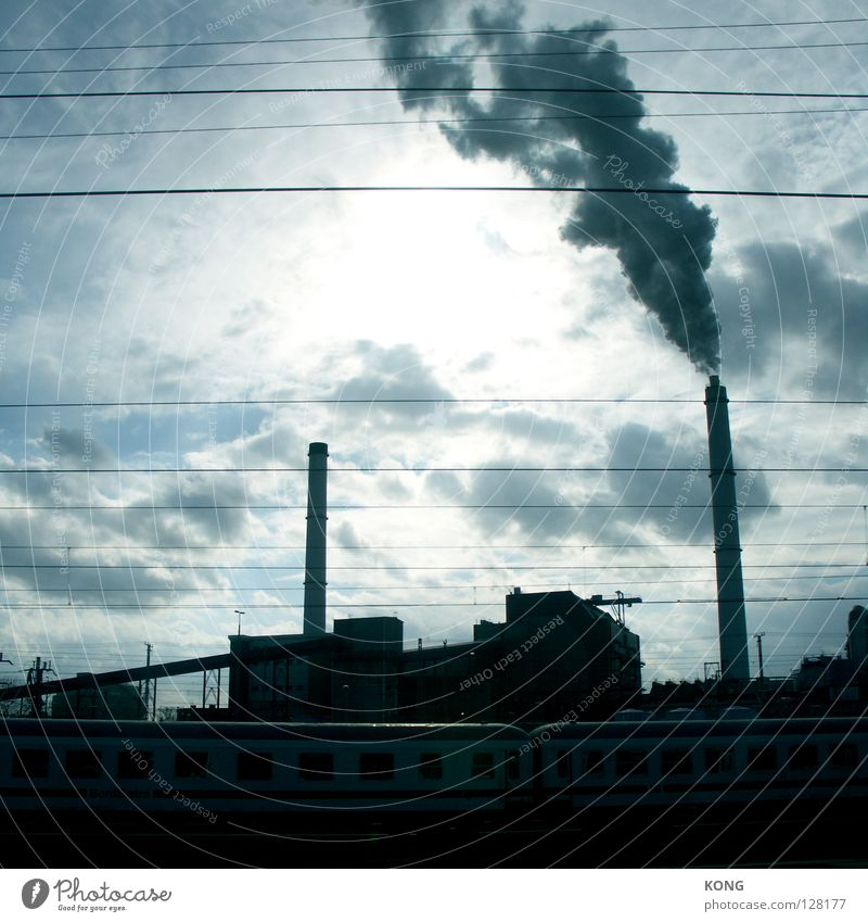Sky Sun Blue Clouds Berlin Line Bright 2 Railroad Industry Electricity Industrial Photography Factory Railroad tracks Smoke Traffic infrastructure