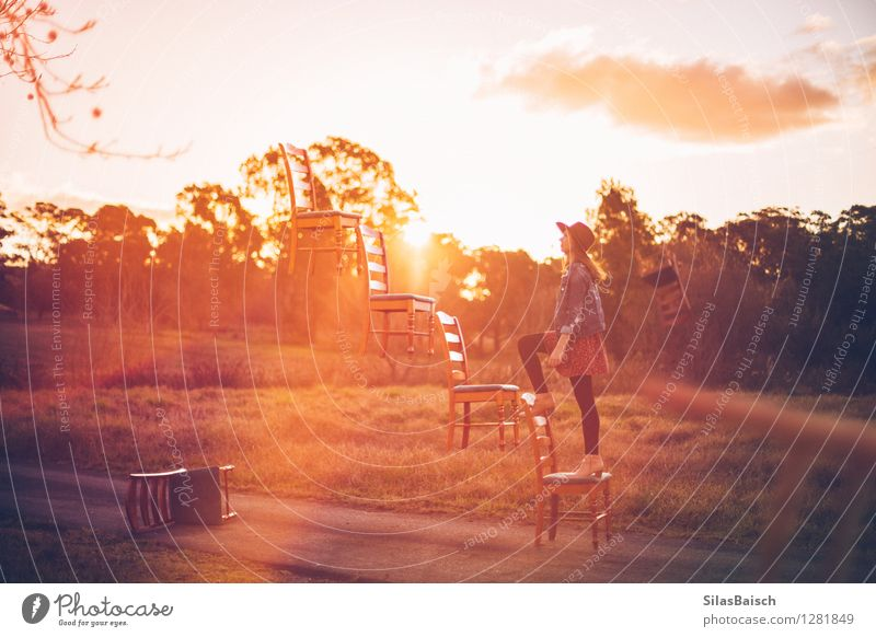Stairway to heaven Youth (Young adults) Heaven Summer Young woman Sun Landscape 18 - 30 years Adults Emotions Freedom Flying Lifestyle Moody Park Body