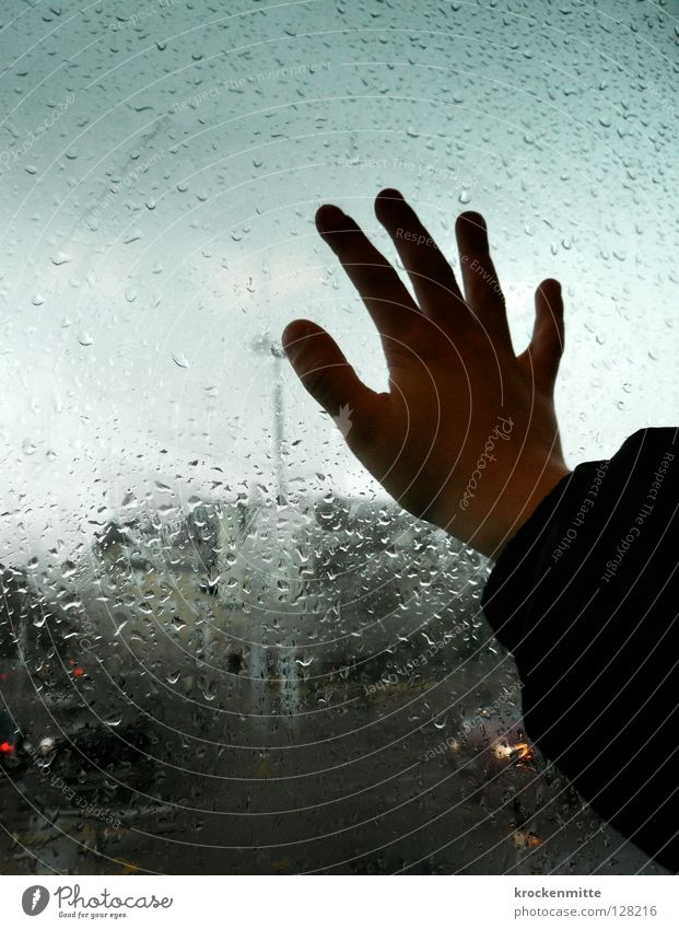 Hand Water City Glass Weather Drops of water Fingers Jacket Escape Window pane Thumb Tram Pane Erudite Humidity Natural phenomenon