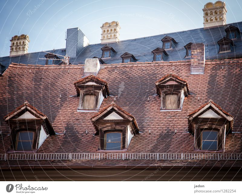City Old House (Residential Structure) Window Architecture Building Decoration Beautiful weather Roof Manmade structures Skyline Old town Sightseeing Surrealism