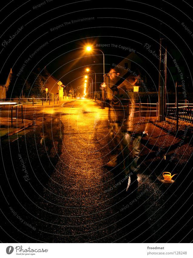 street art Shift work Long exposure Germany Jug Watering can Asphalt Street art Ghosts & Spectres  Accident Creepy Moody Night Dark Lamp Lantern Street lighting