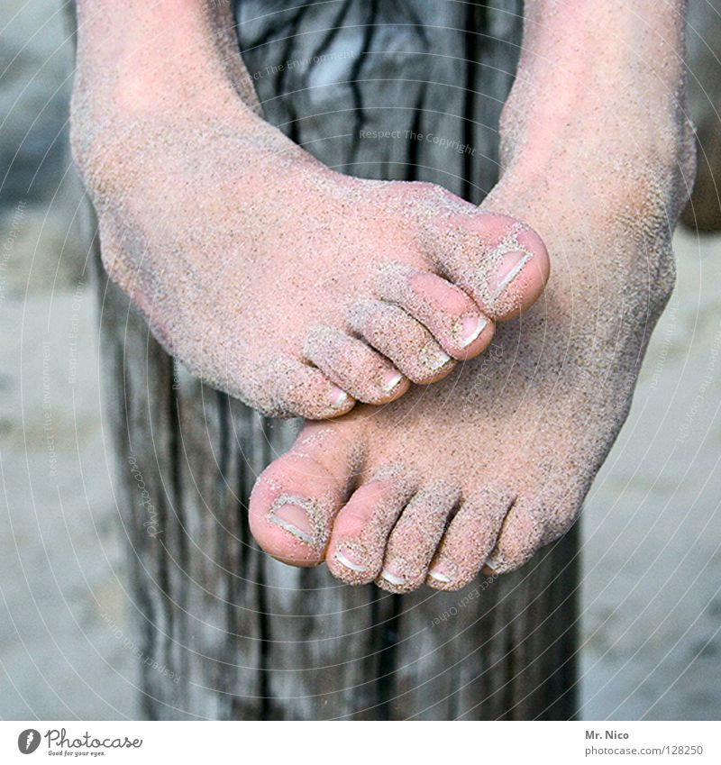 Human being Vacation & Travel Beach Relaxation Sand Feet Healthy Leisure and hobbies Skin Soft Hang Barefoot Toes Pole Rough Wood grain