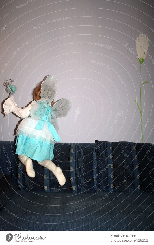 I can fly!! Carnival Child Flower Dress Flying Blue White Fairy Interior shot Copy Space top Rear view Carnival costume Easy Ease Departure Exceptional Strange