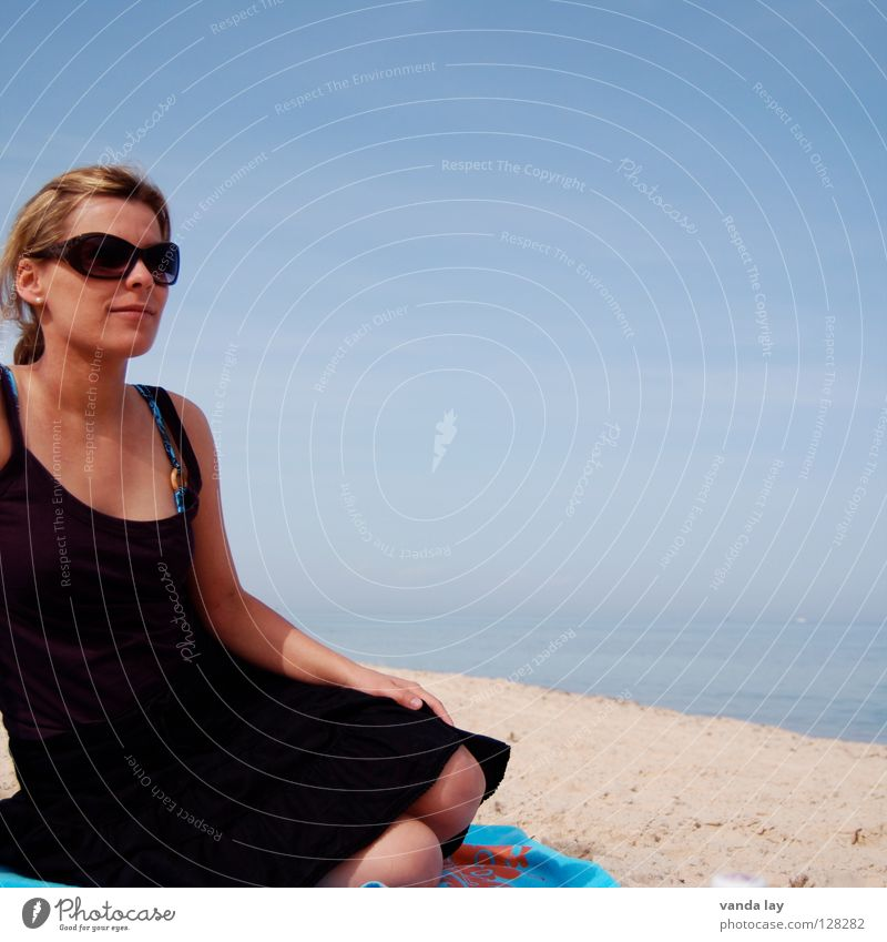 Woman Blue Water Vacation & Travel Beautiful Ocean Beach Loneliness Far-off places Playing Coast Sand Horizon Blonde Sit Individual