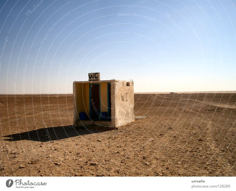 WC in desert Sky Desert Derelict Anger Aggravation Toilet water closed hot necessity far Africa stone Sand Wind blue sun