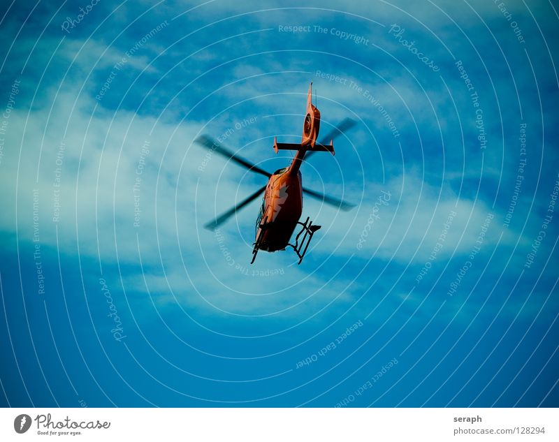 Rescue Helicopter Air Flying Aviation Sky Floating Rotation Rotate Logistics Passenger traffic Wing Low-flying plane Transport Infrastructure Airspace Clouds