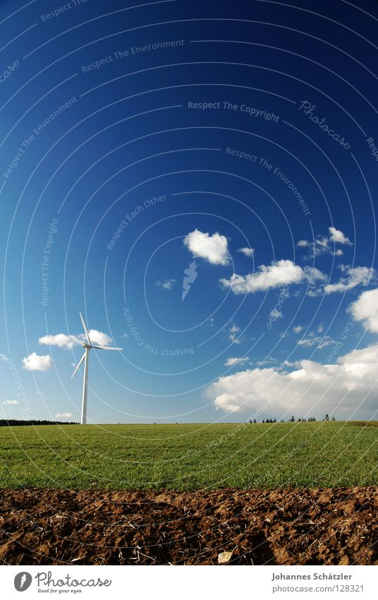 Sky Blue Green Summer Clouds Landscape Spring Grass Power Field Energy industry Electricity Agriculture Wind energy plant Science & Research Advancement