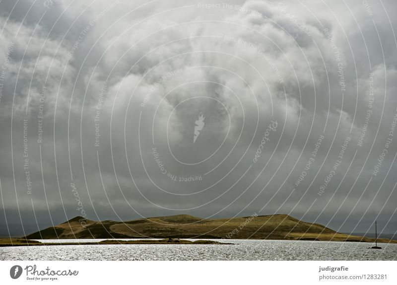 Iceland Environment Nature Landscape Elements Water Sky Clouds Climate Weather Bad weather Storm Volcano Lakeside Lake Myvatn Exceptional Threat Dark Cold
